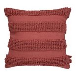 SAATVIK Handwoven Feather Fill Throw Pillow with Stripes