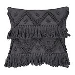 SAATVIK Handwoven Feather Fill Throw Pillow with Fringe