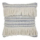 SAATVIK Handwoven Feather Fill Throw Pillow with Fringe and Braided Detail