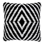 SAATVIK Handwoven Feather Fill Throw Pillow with Diamond Shapes