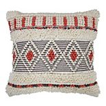 SAATVIK Handwoven Feather Fill Throw Pillow with Braiding Detail