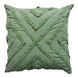 SAATVIK Feather Fill Throw Pillow with Tufted Embellishment