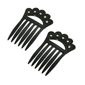 1928 Plastic with Clear Crystal Hair Comb Set