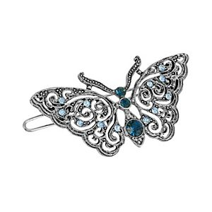 1928 Silver Tone Blue Simulated Crystal Butterfly Hair Clip