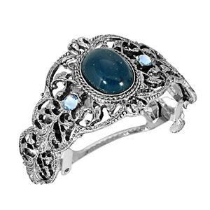 1928 Silver Tone Oval Simulated Sapphire Crystal Barrette