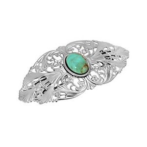 1928 Silver Tone Filigree Simulated Turquoise Accent Hair Barrette