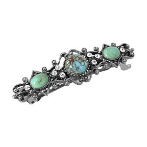 1928 Silver Tone Simulated Turquoise Accent Stones Barrette