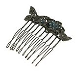 1928 Black Tone Floral Hair Comb with Blue Swarovski Crystals
