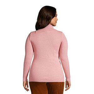 Plus Size Lands' End Mixed-Stitch Split Turtleneck Sweater
