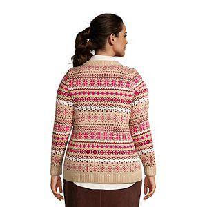 Plus Size Lands' End Drifter Fairsisle V-Neck Sweater