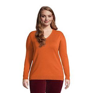 Plus Size Lands' End Supima Cotton V-Neck Sweater