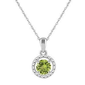 10k Gold Round Peridot Pendant Necklace