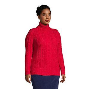 Plus Size Lands' End Cozy Bobble Trim Turtleneck Sweater