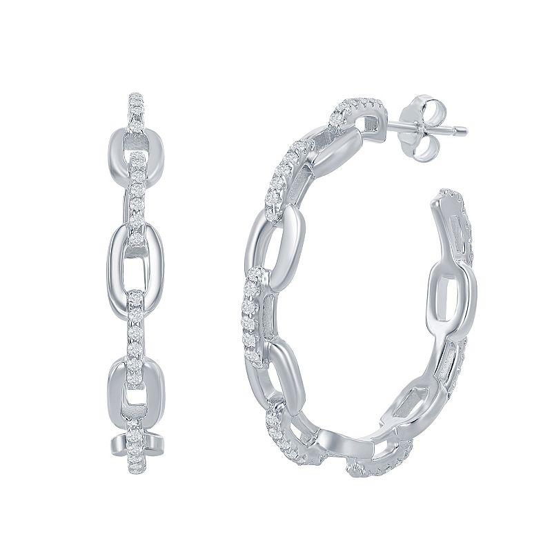Sterling Silver & Cubic Zirconia Paperclip Hoop Earrings, Women's, Grey