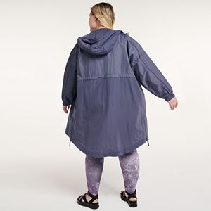 Plus Size FLX Hooded Long Windbreaker Jacket