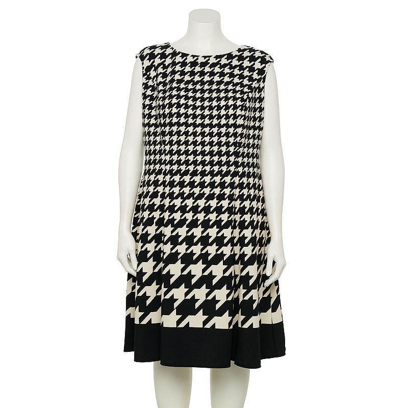 Plus Size Suite 7 Houndstooth Fit & Flare Dress, Women's, Size: 20 W, Black Ivory