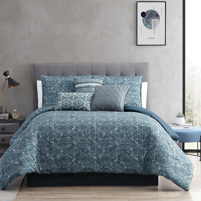 Riverbrook Home Daytona 7-piece Comforter Set with Coordinating Throw Pillows. Blue. Queen