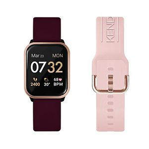 KENDALL + KYLIE Women's Smart Watch with Merlot/Blush Straps