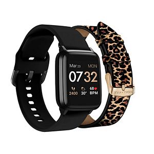KENDALL + KYLIE Women's Smart Watch with Black/Leopard Print Straps