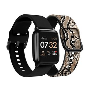 KENDALL + KYLIE Women's Smart Watch with Black/Python Print Straps