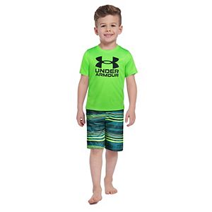 Toddler Boy Under Armour Gradient Striped Tee & Shorts Set
