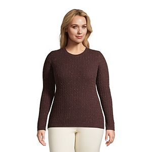 Plus Size Lands' End Cable-Knit Cashmere Crewneck Sweater