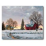 COURTSIDE MARKET Snowy Sunset At The Farm Christmas Canvas Wall Art