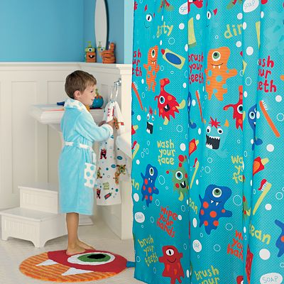 Jumping Beans Monster Fabric Shower Curtain