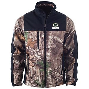 Men's Realtree Camo/Black Green Bay Packers Hunter Softshell Full-Zip Jacket