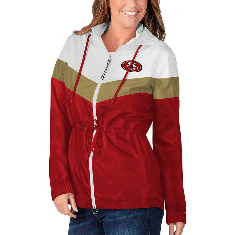 Women's G-III 4Her by Carl Banks White/Scarlet San Francisco 49ers Stadium Full-Zip Hoodie Jacket. Size: XS