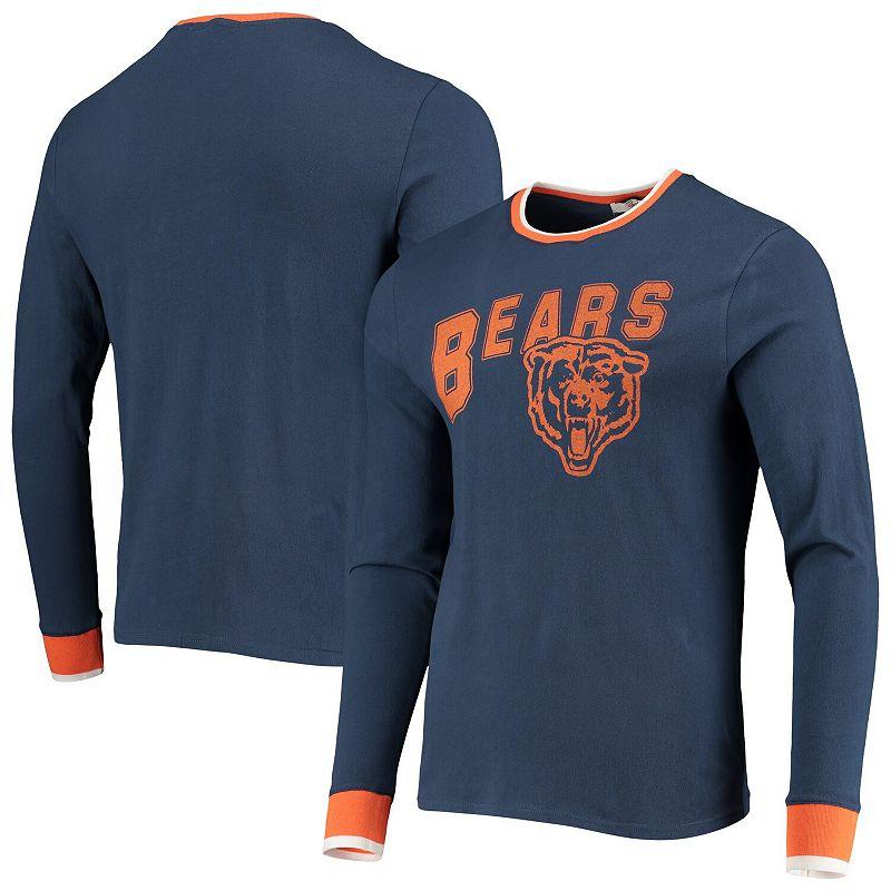 Men's Junk Food Navy Chicago Bears Ringer Long Sleeve T-Shirt, Size: XL, Blue