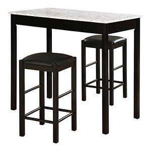 Linon Lancer Tavern Table & Stool 3-piece Set