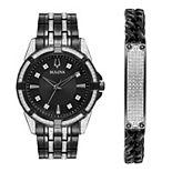 Men's Bulova Two Tone Crystal Watch & Bracelet Gift Set
