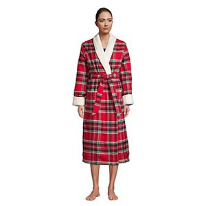 Women's Lands' End Sherpa & Flannel Robe