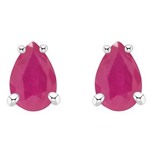 14k Gold Pear Shaped Ruby Stud Earrings