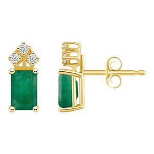 14k Gold Emerald Cut Emerald & 1/8 Carat T.W. Diamond Stud Earrings
