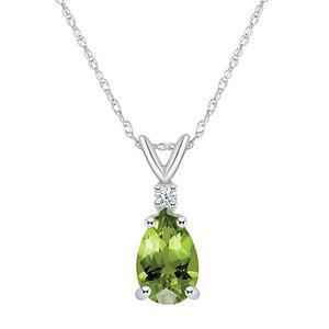 14k Gold Pear Shaped Peridot & Diamond Accent Pendant Necklace
