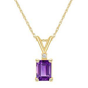 14k Gold Emerald Cut Amethyst & Diamond Accent Pendant Necklace