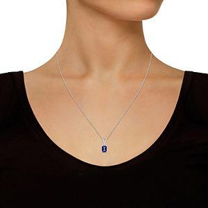 14k Gold Emerald Cut Tanzanite & Diamond Accent Pendant Necklace