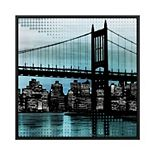 PTM Images Brookling Bridge Night 2 Framed Canvas Wall Art
