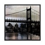 PTM Images Brookling Bridge Night 3 Framed Canvas Wall Art