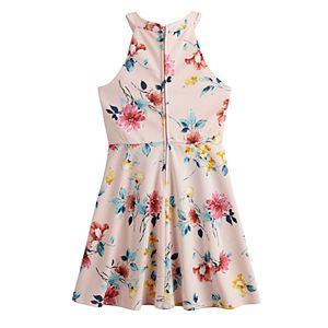 Girls 7-20 Three Pink Hearts High Neck Crepe Scuba Dress in Regular & Plus Size