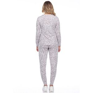 Women's White Mark 2-Piece Top & Bottoms Leopard Pajama Set