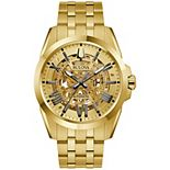 Men's Bulova Gold-Tone Automatic Skeleton Watch - 97A162