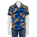 Men's Captain America Shield Hawaiian Button-Down Shirt