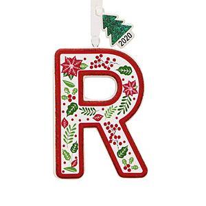Poinsettia Monogram Christmas Ornament
