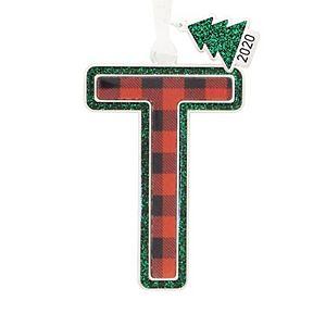Buffalo Check Letter Monogram Christmas Ornament