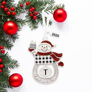 Snowman Letter Monogram Christmas Ornament