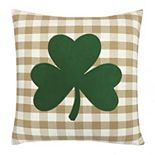 Celebrate St. Patrick's Day Together Plaid Shamrock Throw Pillow