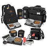 Mobile Dog Gear Bundle: Day/Night Walking Bag, Rolling Week Away Bag, Dine Away Set for Medium / Large Dogs & Weekender Backpack